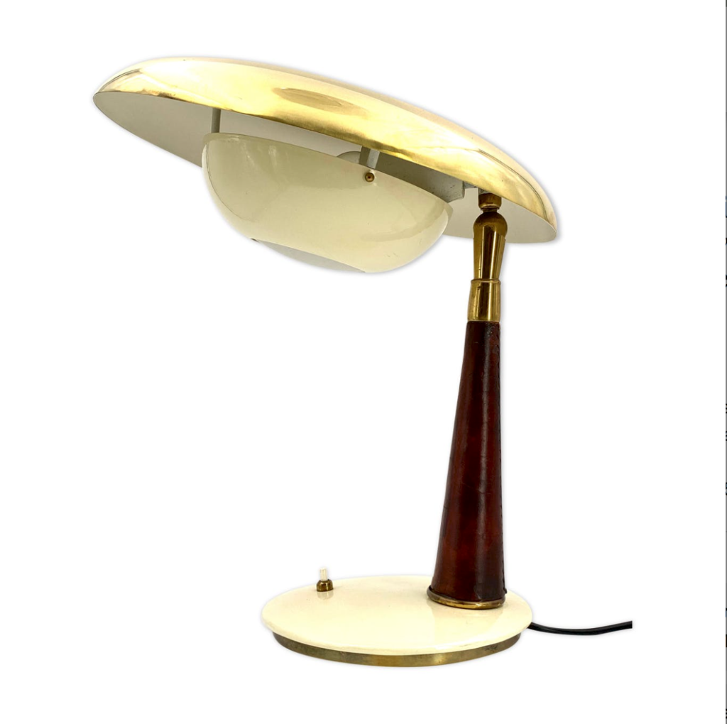 Angelo Lelii, Arredoluce Mid-century Brass & Leather Executive Desk Lamp, 1956