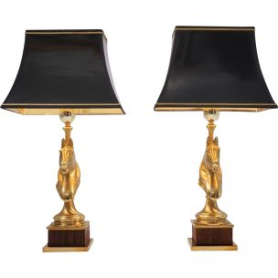 maison-charles-style-horse-lamps-pair-brass-wood-1970s-ca-french