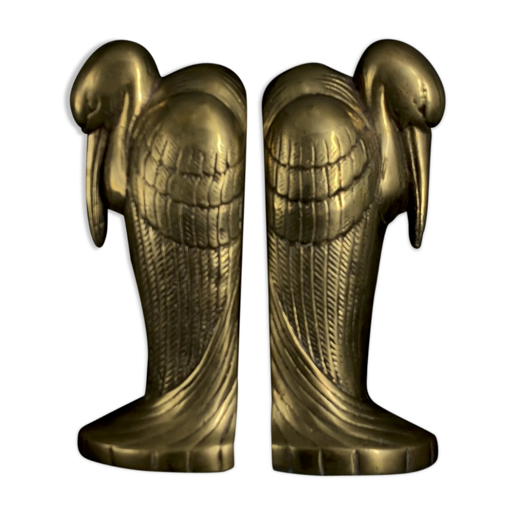 Art Déco brass bookends in the shape of Marabou, circa 1930, Netherlands
