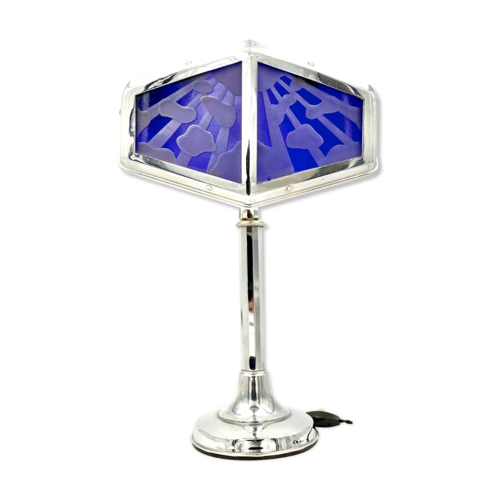Art Déco Pirouett Lamp, Orientalist Style Glass, Large Model, Nice, France, Circa 1930