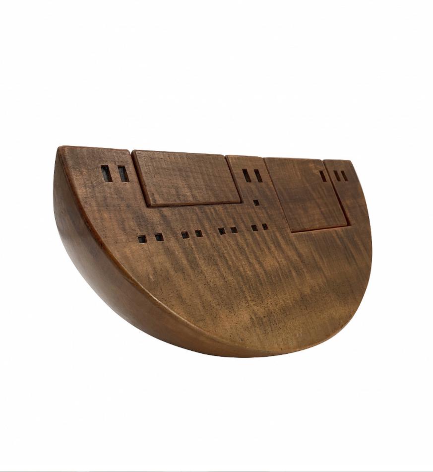 70s design, Giuseppe Rivadossi, Ark 'Nave 1935' Wood Sculpture, Signed
