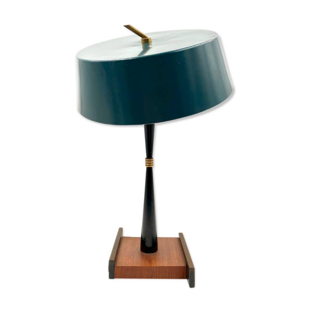 Stilux, Milan Mid-century Table Lamp, Circa 1950. Petrol green