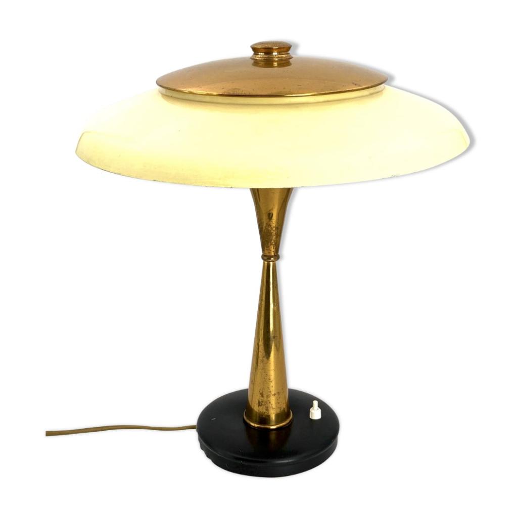 Oscar Torlasco Mid-Century Mod. 442 Brass Executive Desk Lamp, Prod. Lumi, Circa 1955