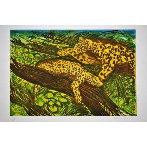 vintage-engraving-by-malcolm-morley-on-leopards-from-the-odysseys-of-enoch-suite-1986