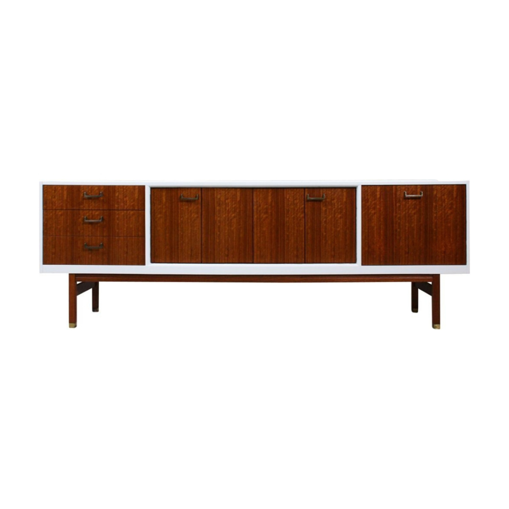 White Lacquered Long Sideboard, 1960's