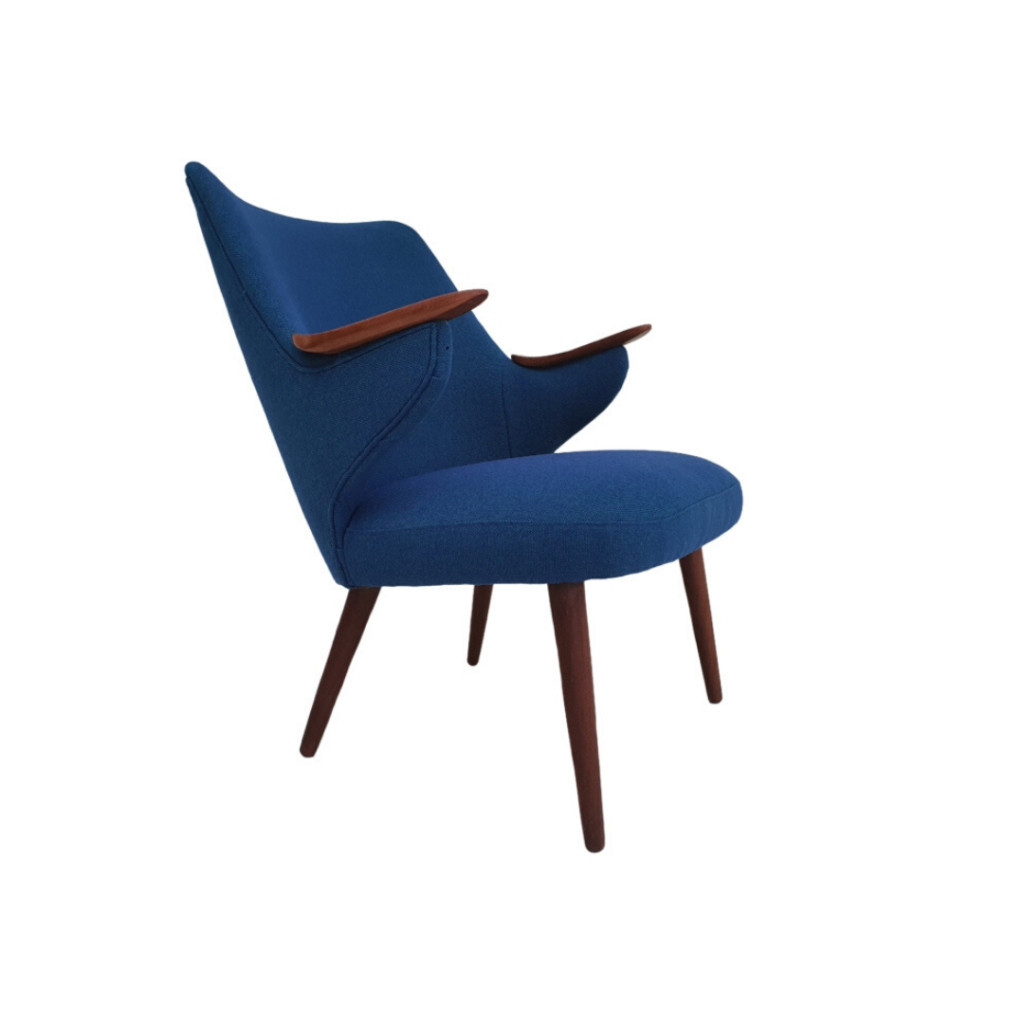 Erling Olsen, completely renovated – reupholstered Danish armchair, 60s