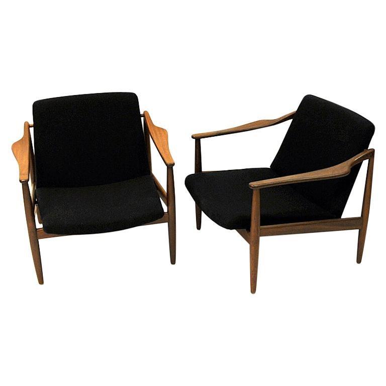 Vintage teak armchair pair by Hartmut Lohmeyer 1950s, Germany