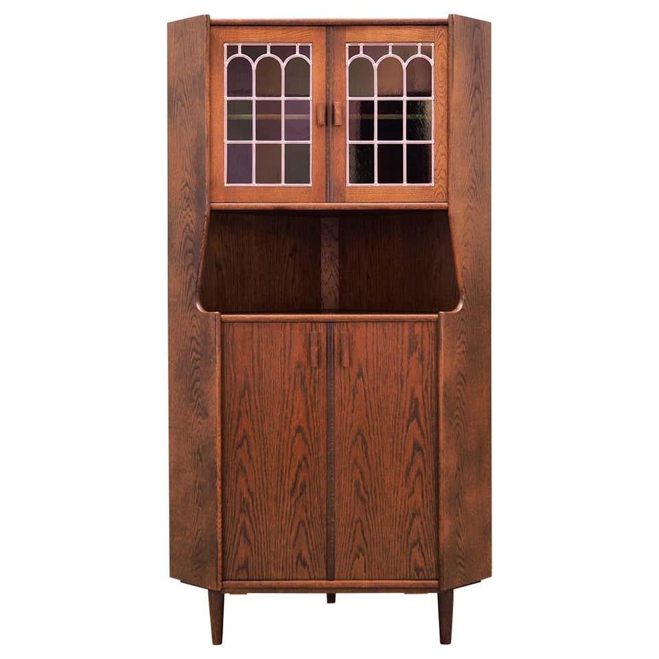 Corner cabinet oak, Danish design, 60's
