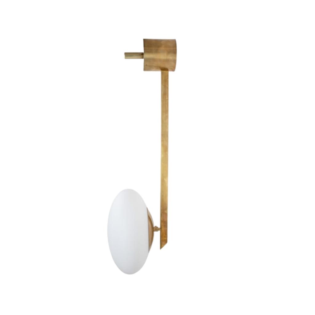 Brass & Opaline Glass Stella Angel Wall Lamp