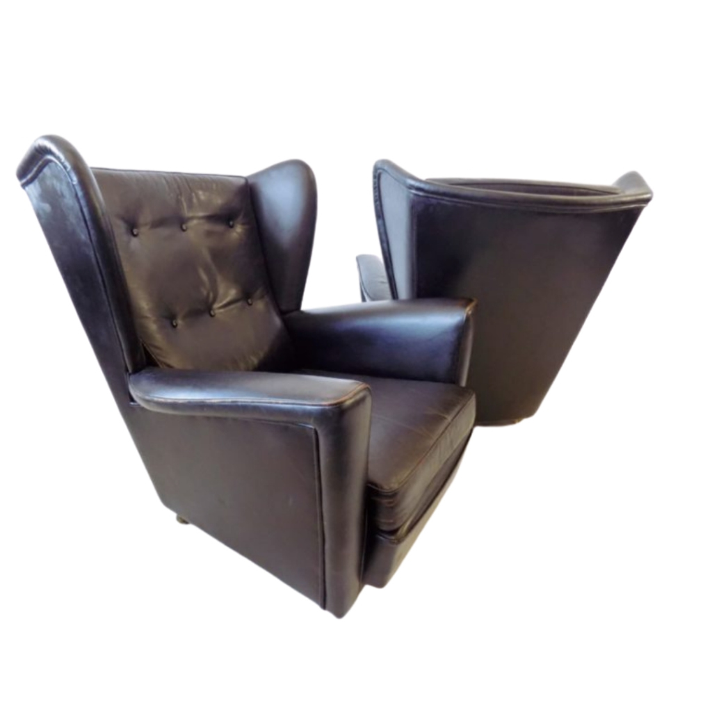 Howard keith pair of black leather armchairs for HK furniture