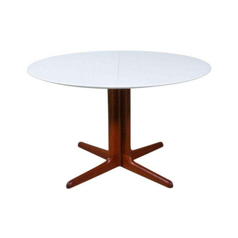 Round Danish Teak & White Dining Table, 1960s