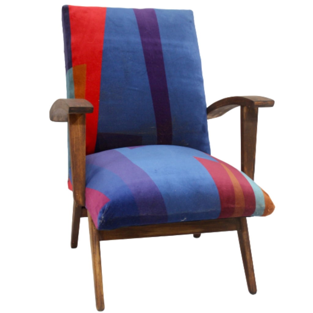 Scandinavian armchair 50's / 60's velvet fabric Geometric print. Publisher Lelievre.