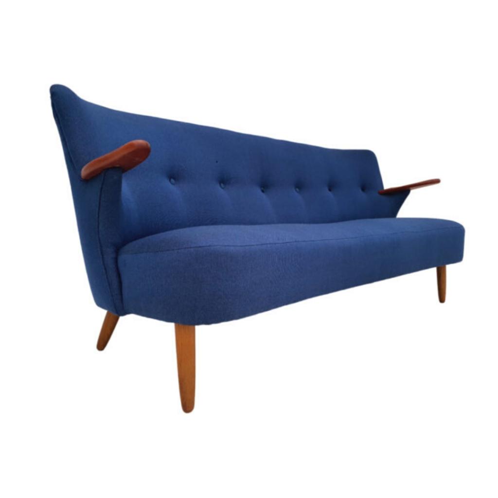 Danish sofa, completely reupholstered, 60s, wool, teak wood
