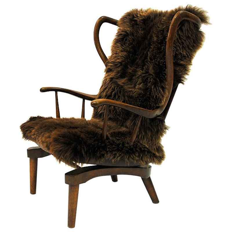 Rocking Sheep skin chair by Peter Hvidt, Denmark 1940s