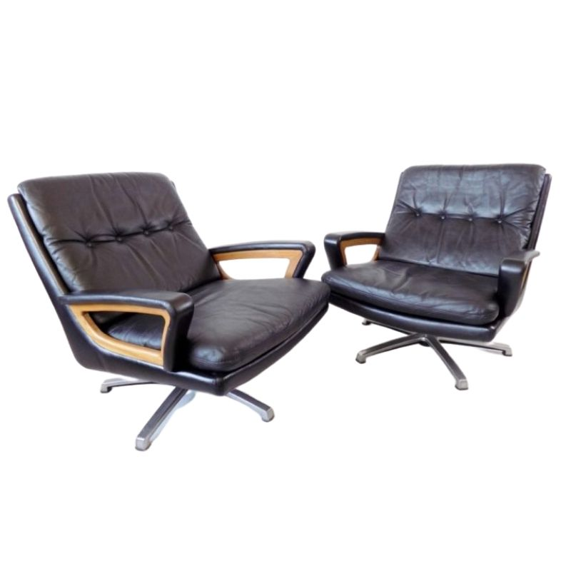 Carl Straub set of 2 black leather lounge chairs 60s