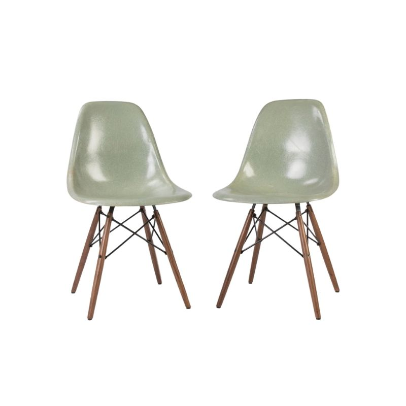 Seafoam Light Pair Herman Miller Vintage Eames Original DSW Dining Side Shell Chair