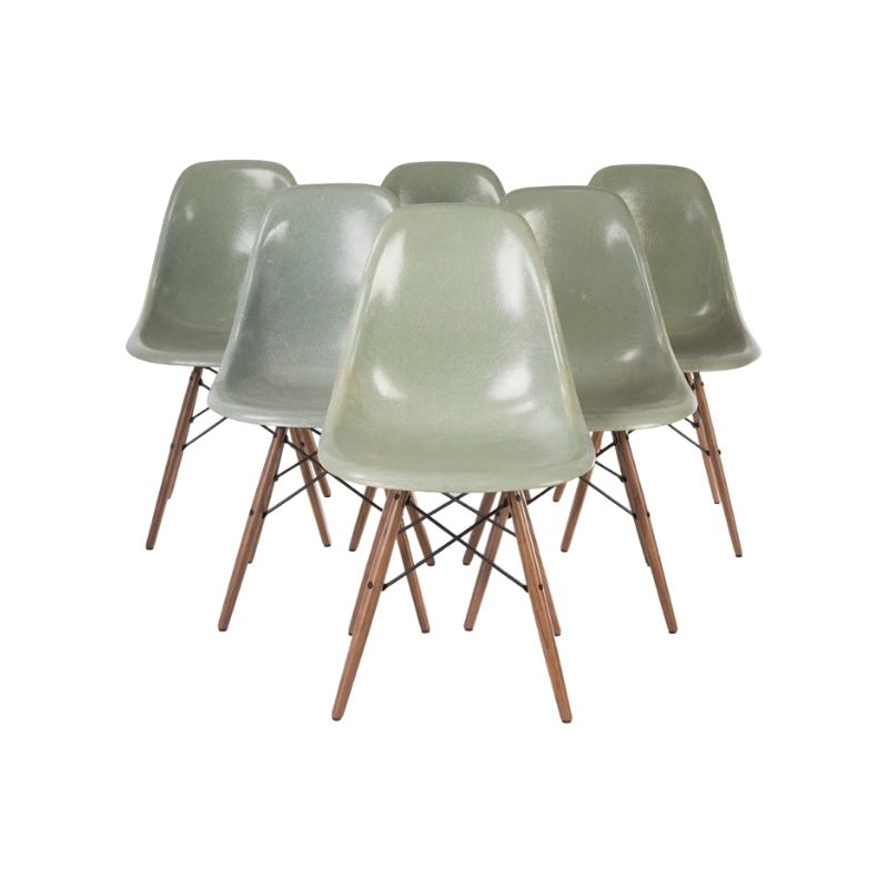 Seafoam Light Set (6) Herman Miller Vintage Eames Original DSW Dining Side Shell Chair