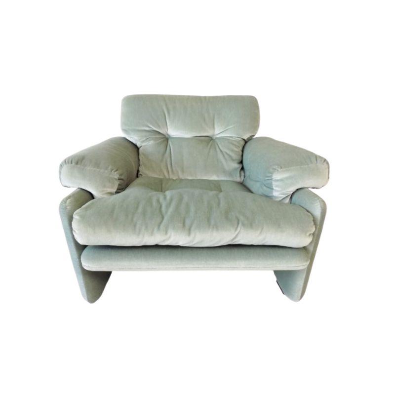C&B Italia Coronado icegreen velvet armchair by Afra&Tobia Scarpa