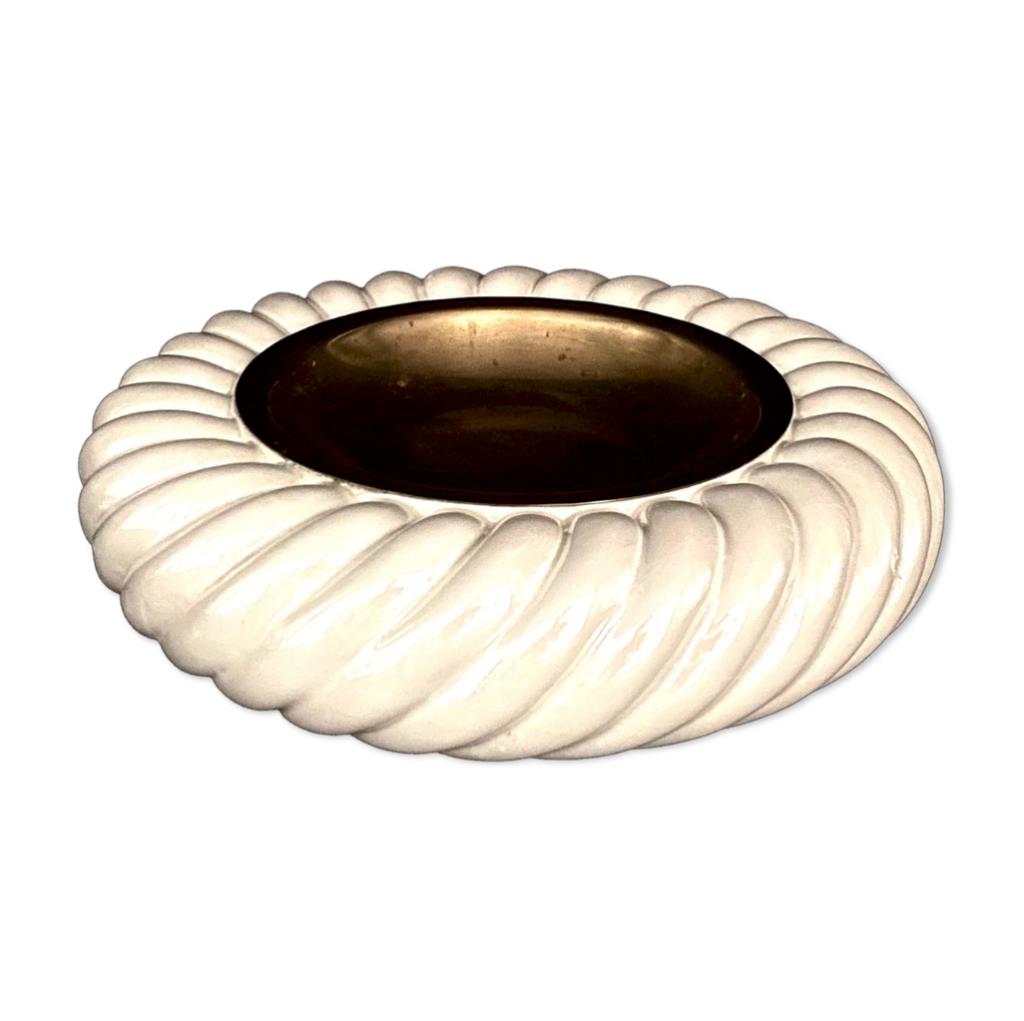 White emptier ashtray, Tommaso Barbi, B Ceramiche, 1970