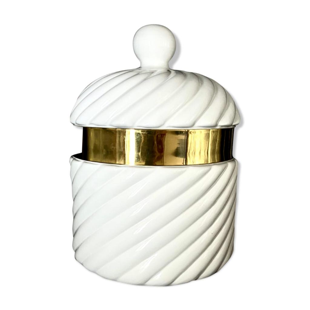 White ice bucket, Tommaso Barbi, produced by B Ceramiche, 1970