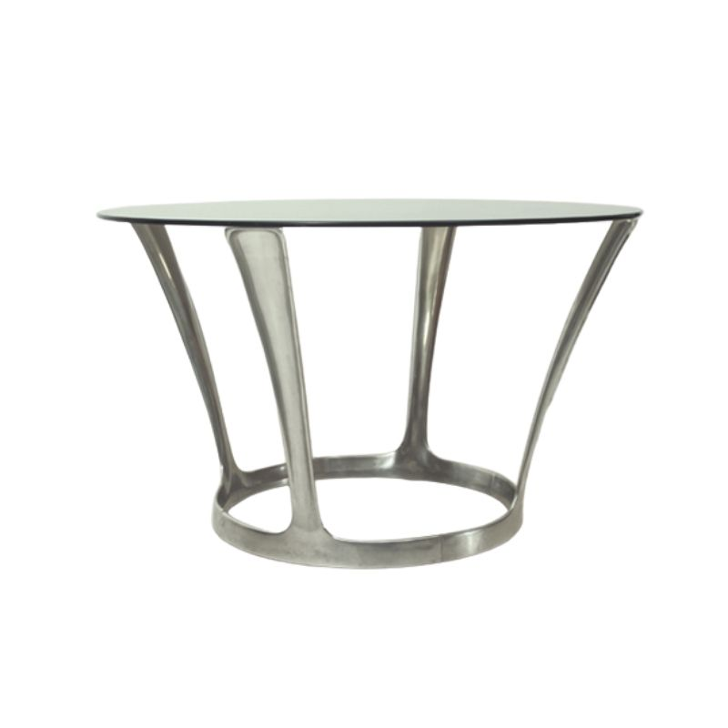 French Aluminum & Smoked Glass Dining Table by Boris Tabacoff, 1960s