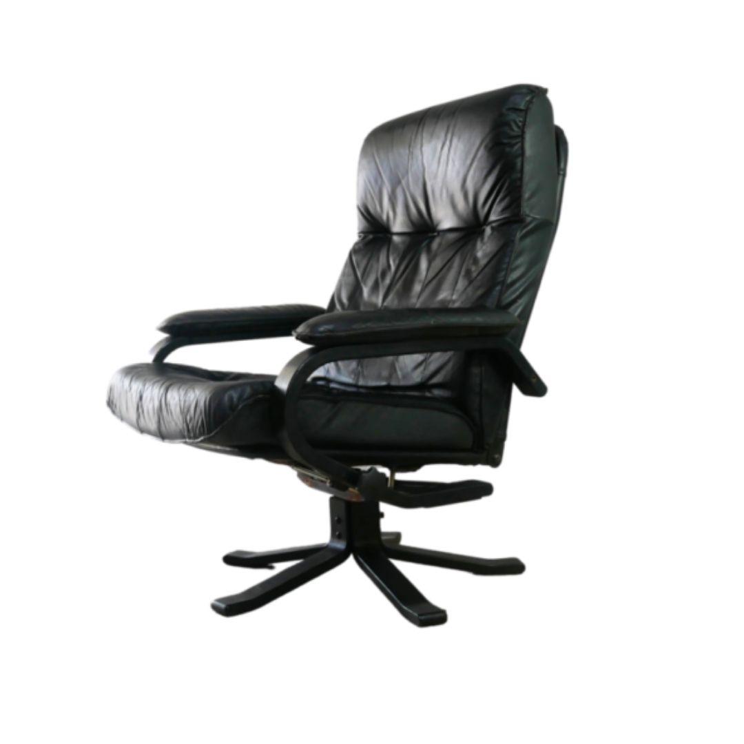 1960's Danish mid century leather reclining swivel chair
