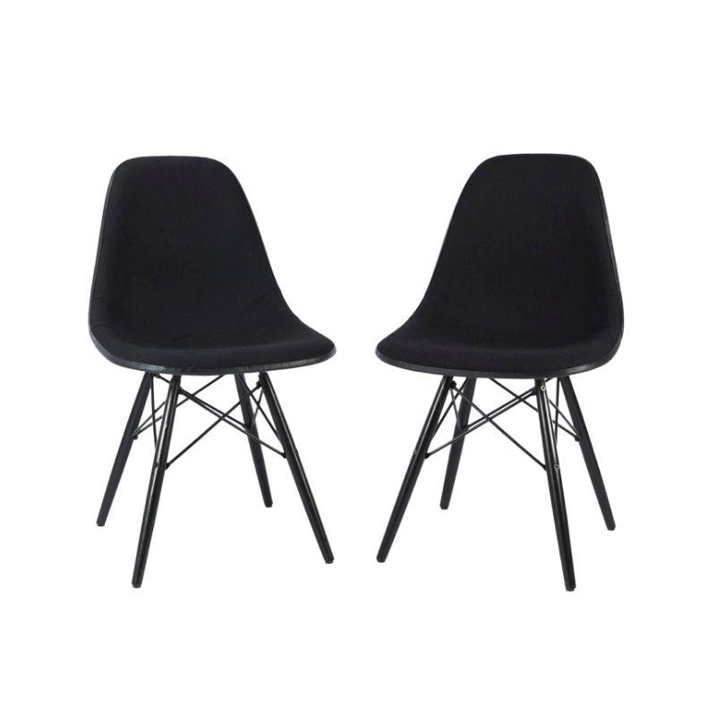 Black Pair (2) Herman Miller Original Eames Upholstered White DSW Side Shell Chairs