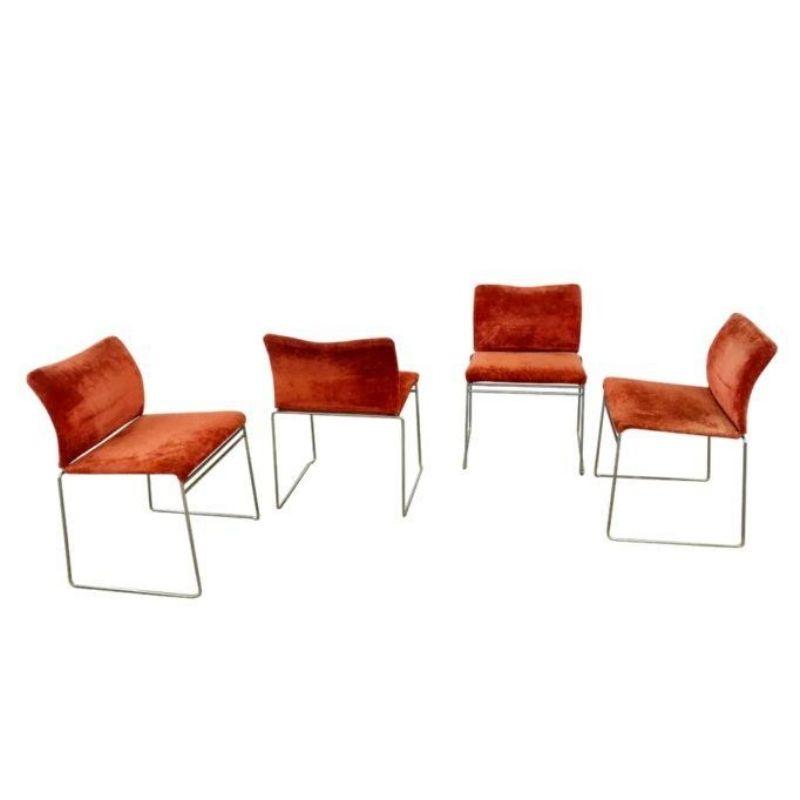 Simon international Jano LG red velvet chairs 4x vintage design