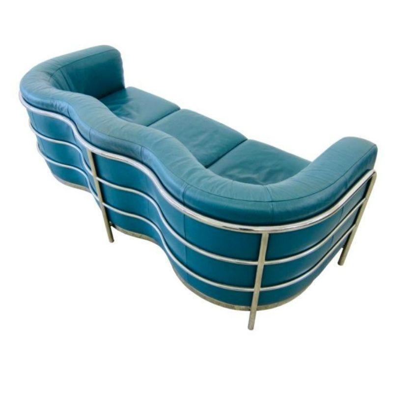 Zanotta 'Onda' green leather 3 seater sofa vintage design
