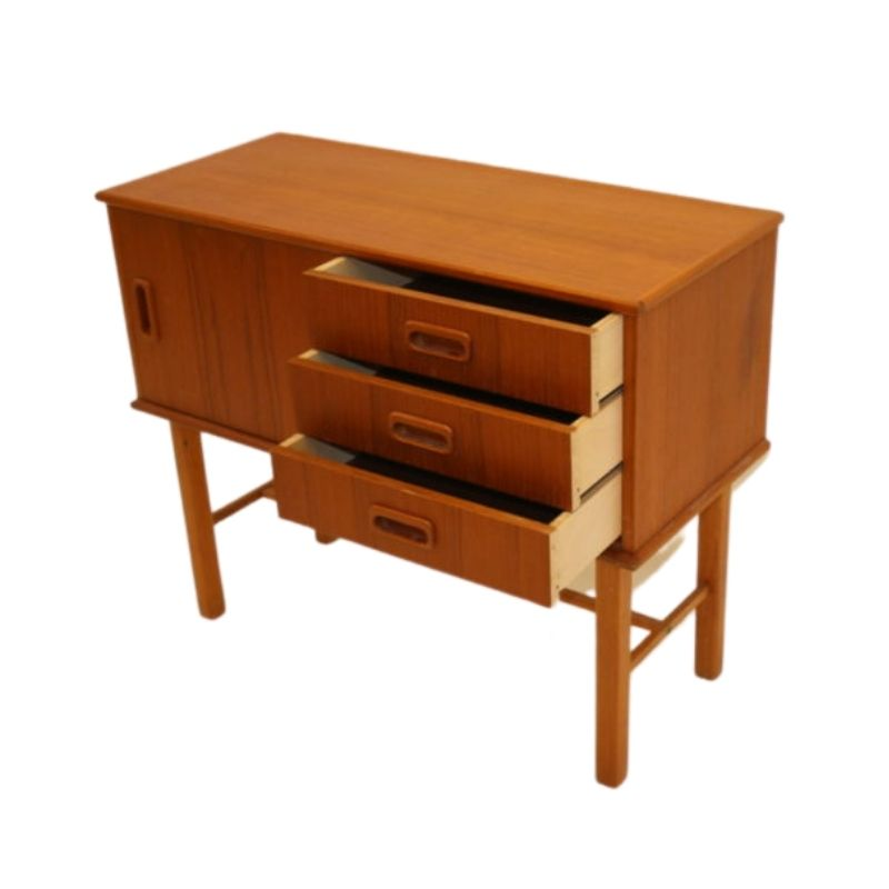 Swedish teak cabinet with drawers and sliding door