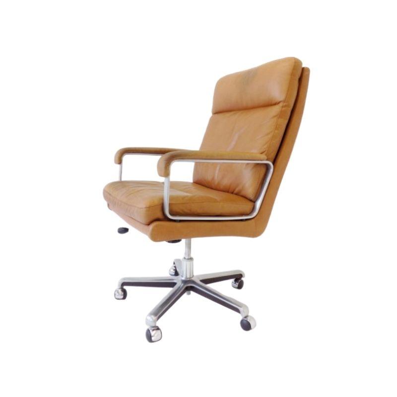 ES Eugen Schmidt caramel leather office chair 60s
