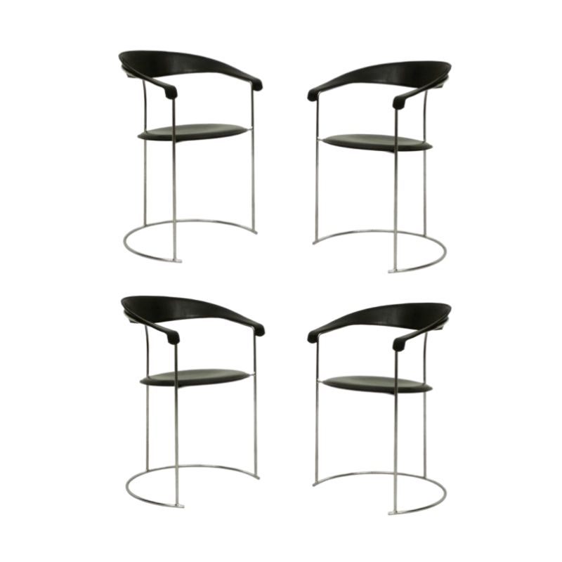 Set Of 4 Italian Chrome & Black Leather Armchairs • Model Canasta by Arrben, 1960s