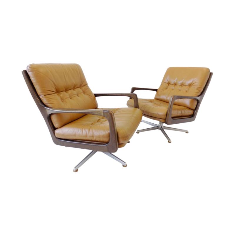 Eugen Schmidt set of 2 leather armchairs for Soloform
