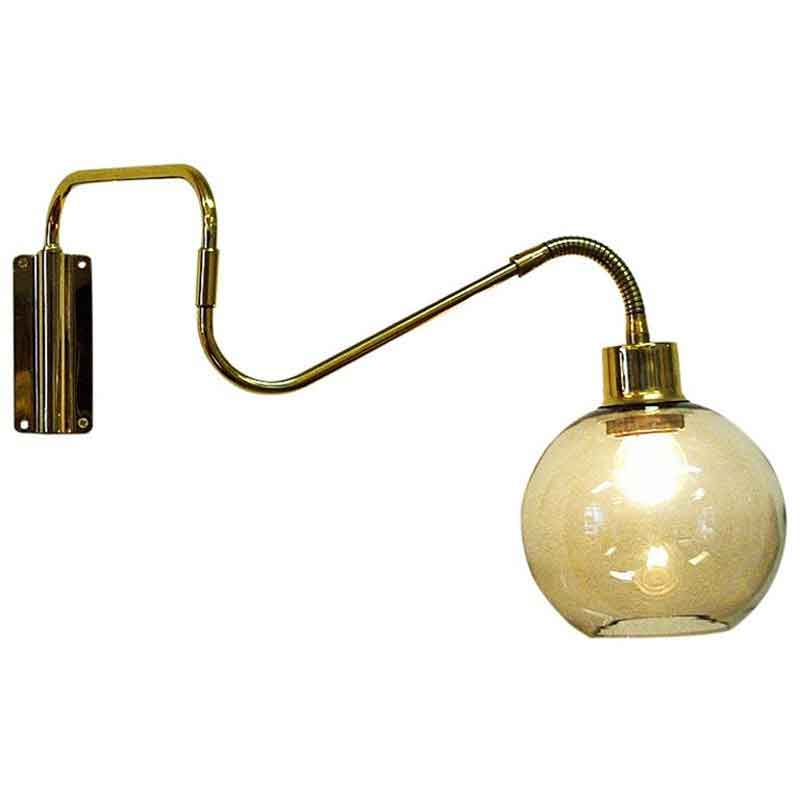 Wall lamp on brassarm with glassdome T. Røste & Co Norway 1950s