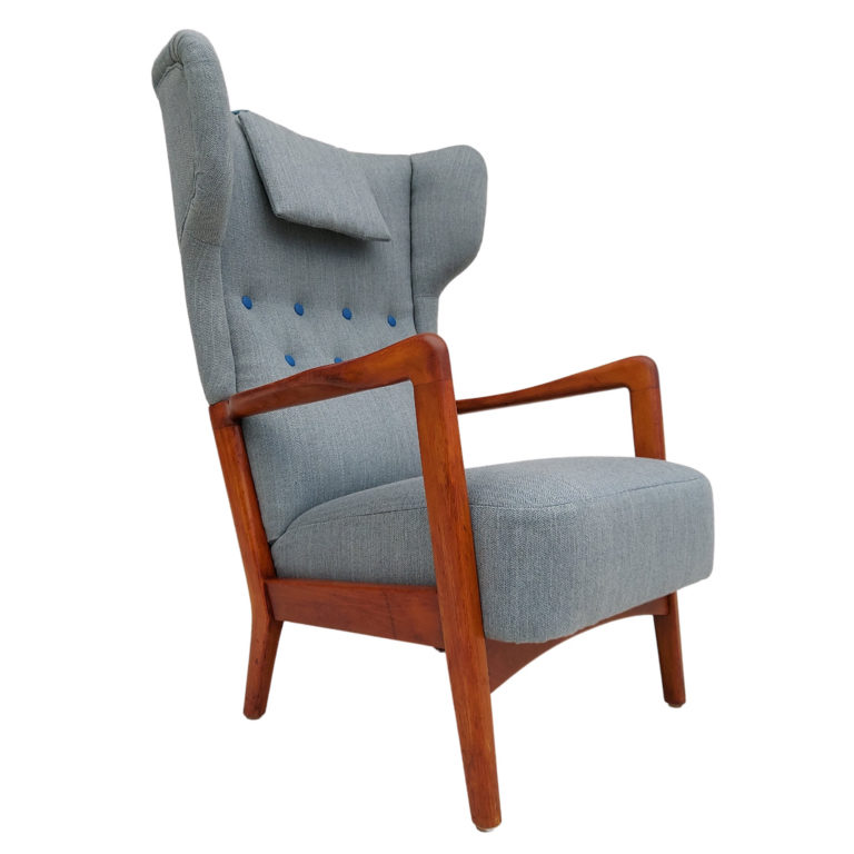 Danish design by Fritz Hansen, armchair, reupholstered, 50s, wool fabrics