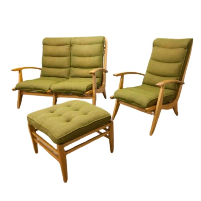 Set Living room Free span 1954 sofa armchair and footrest green museum piece