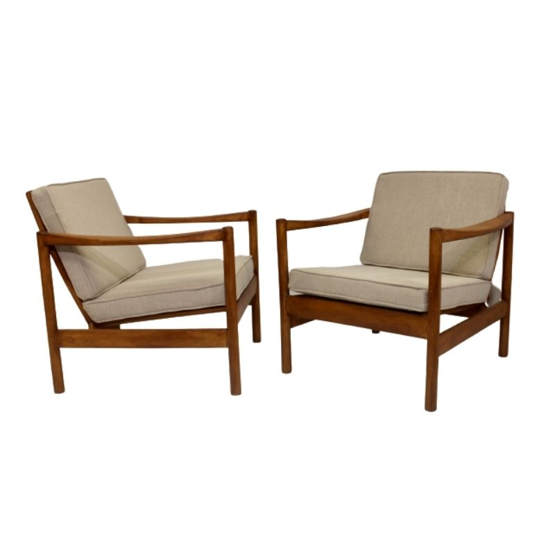 Pair of armchairs scandinavian style 60's fabric mottled linen style fully restored.