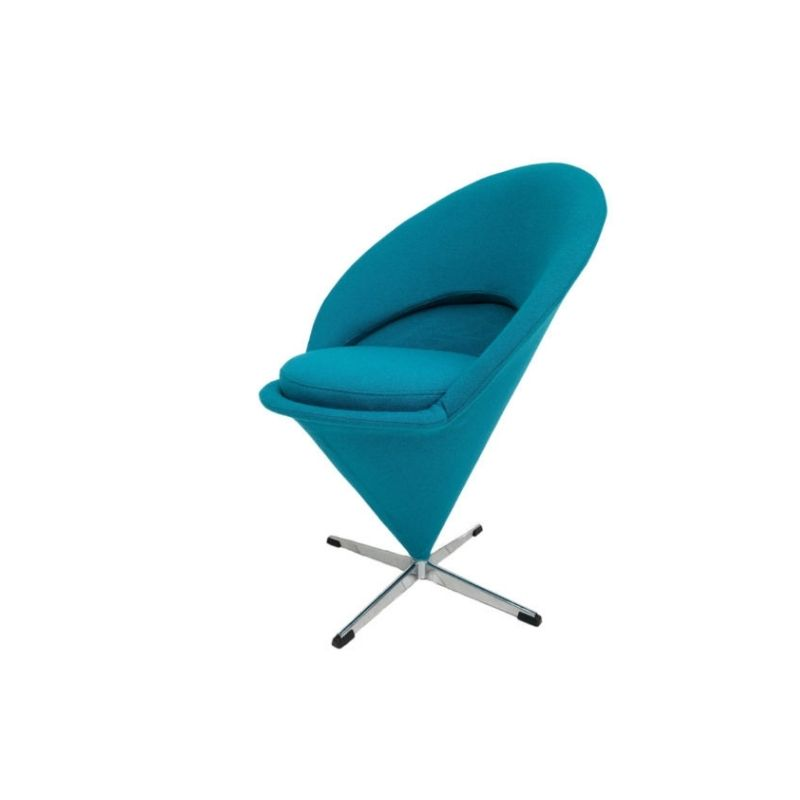 "Design sans titre-12Danish Design by Verner Panton ""Cone chair"", 70s, Turquoise Blue, Reupholstered"