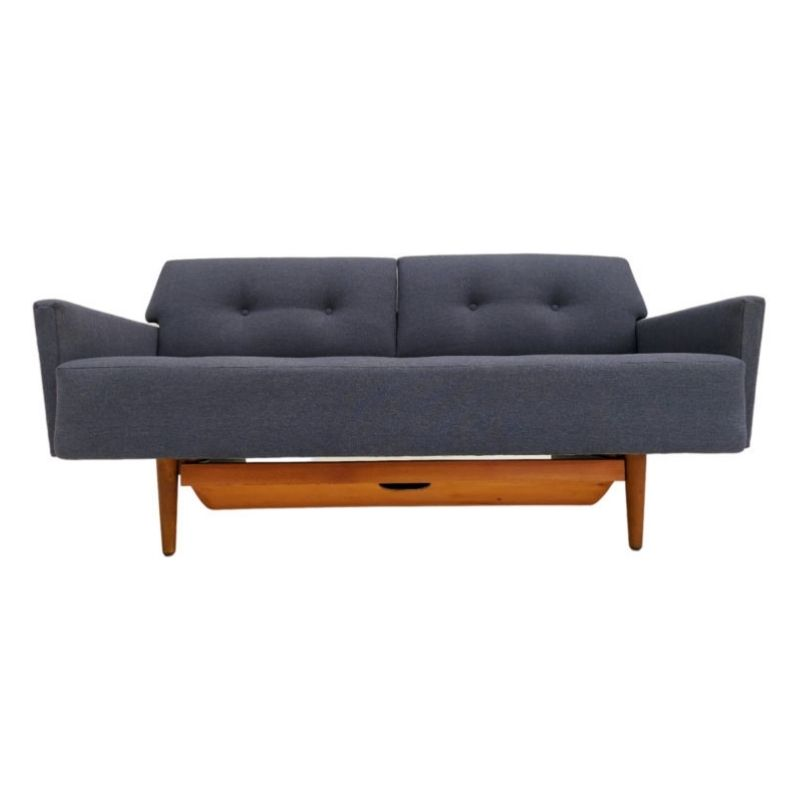 Swedish sleeping sofa, 70s, completely reupholstered