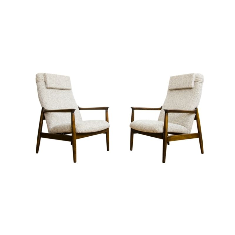 Pair Of Gfm 64 High Back Armchairs By Edmund Homa, 1960's