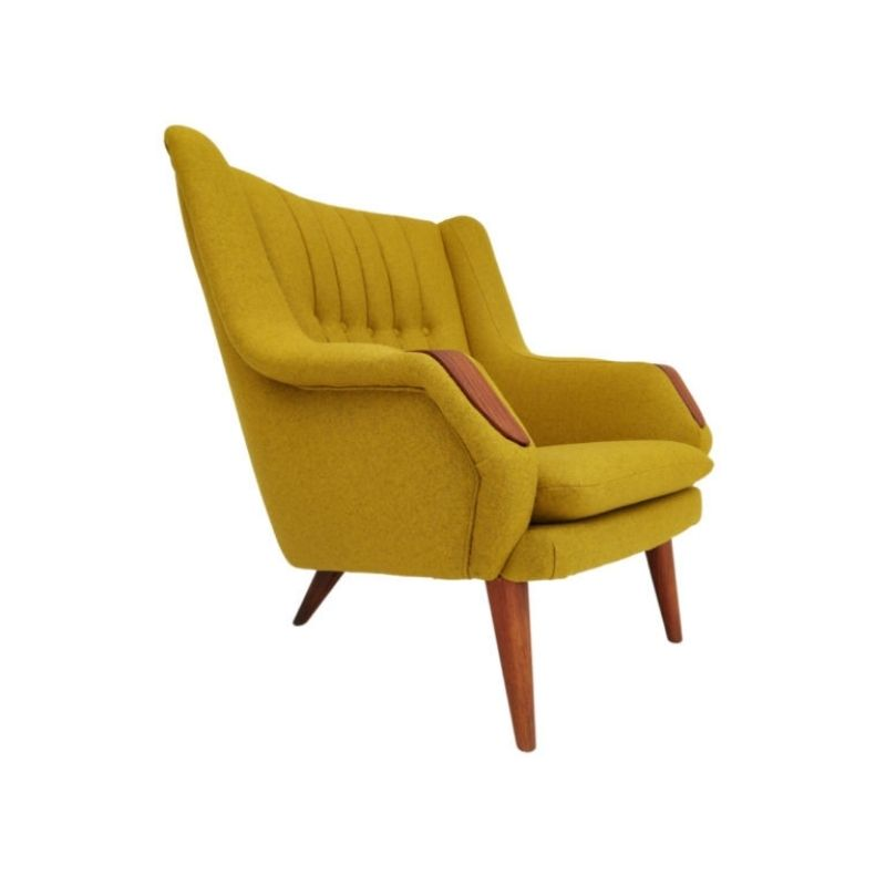 Danish high back, relax armchair, completely renovated-reupholstered, 70s