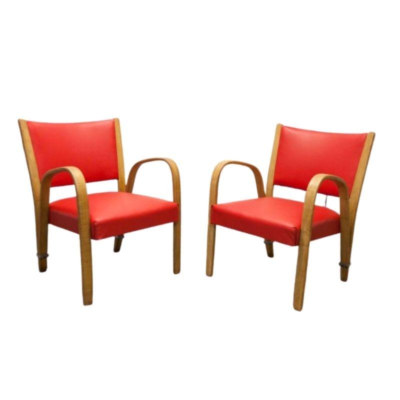 Pair of restored 1950's Steiner Bowwood armchairs