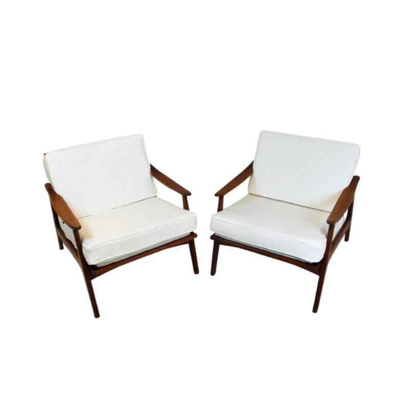 Pair of Scandinavian Armchairs in wood, 1960s