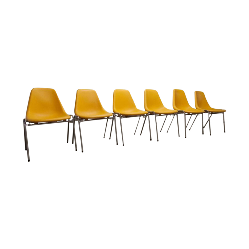 Set of 6 chairs Orly design by Pollak 1975 vintage