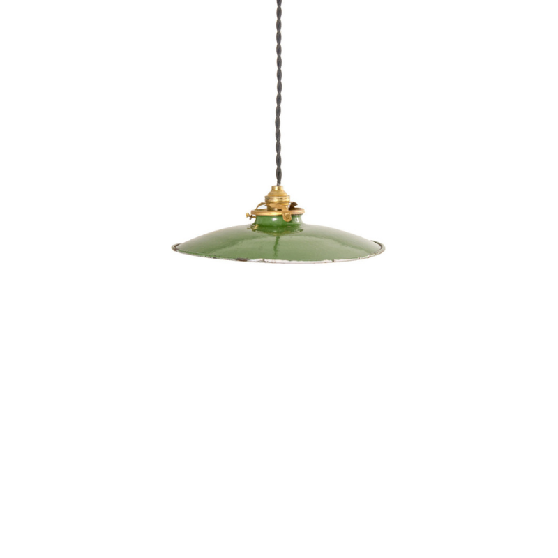Small French Green Ceiling Lamp, 1950s