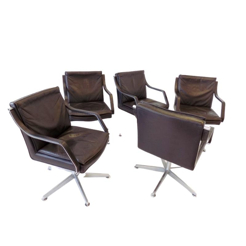 Dreipunkt set of 5 leather conference chairs by Rudolf B. Glatzel