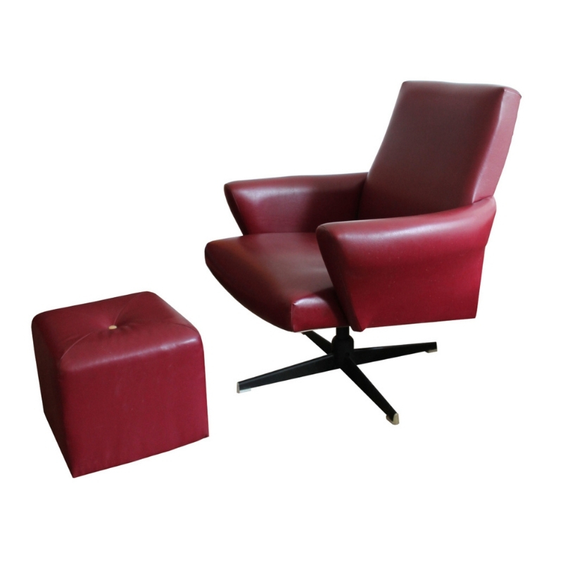 1970's Swivel Armchair and tabouret in Burgundy Leather