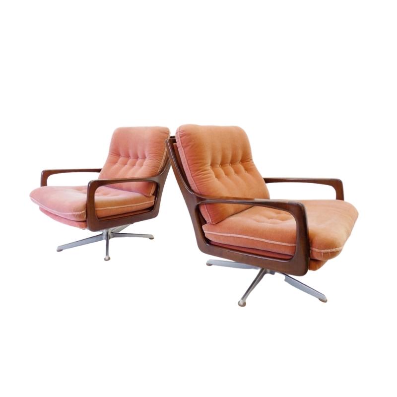 Eugen Schmidt set of 2 mohair armchairs for Soloform