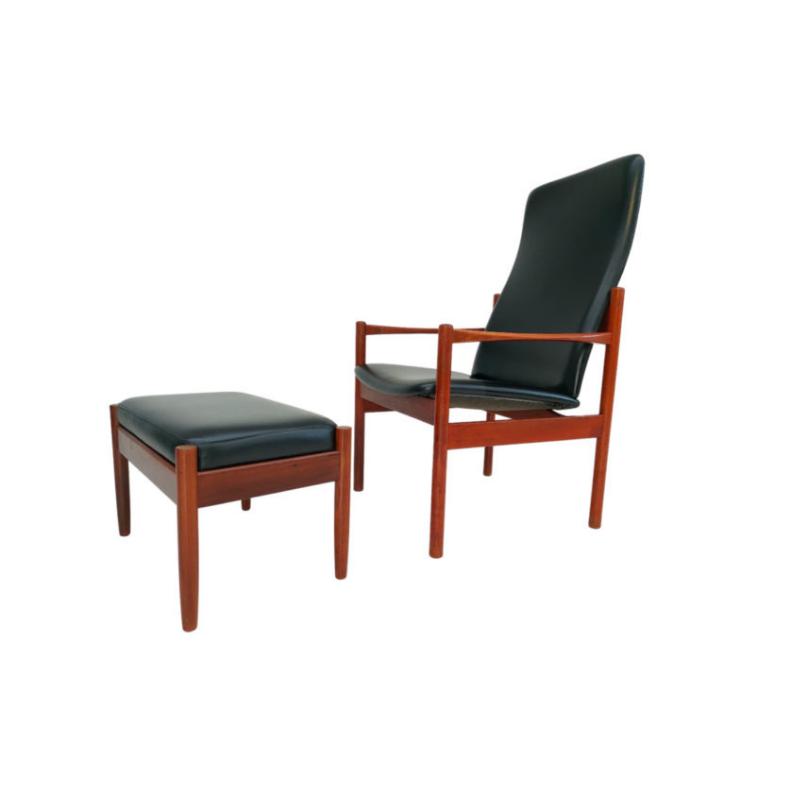 Danish armchair with stool, teak wood, original very good condition, 60s