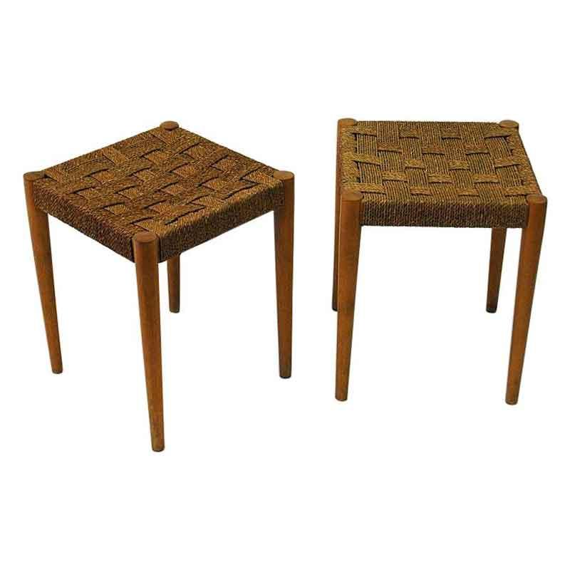Swedish pair of beech stools Gefa by DIÖ Gemla Fabrikers 1940s